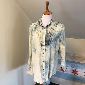 NWT FREE PEOPLE Acid Wash Denim Collarless Shirt S